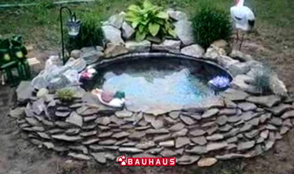 Bahçeniz İçin Eski Tekerlekten Süs Havuzu